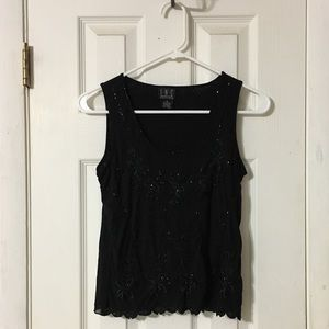 INC Petite small black bead embroidery tank top